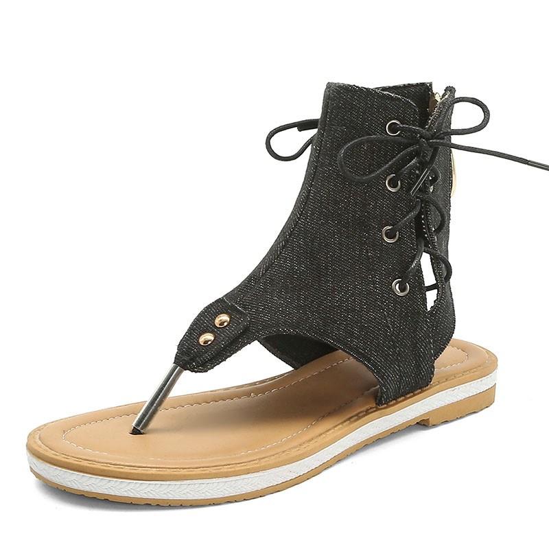 Ericdress Block Heel Thong Lace-Up Plain Sandals