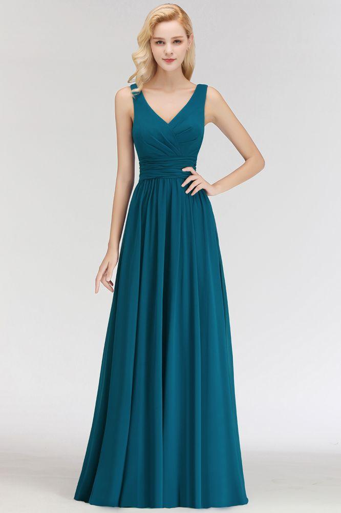 NORA | Une ligne de v-cou sans manches longueur de plancher volants robes de demoiselle dhonneur en mousseline de soie