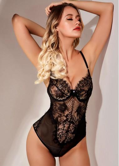 Sexy Babydoll Lingerie Chemises Black Lace Panel Spaghetti Strap Bodysuit - 5XL