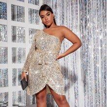 Kleid mit Kontrast, Pailletten, asymmetrischem Kragen, Wickel Design am Saum und Guertel