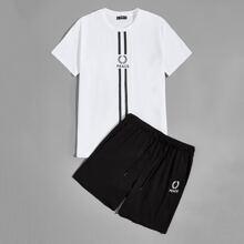 Top mit Buchstaben, Streifen Muster & Shorts