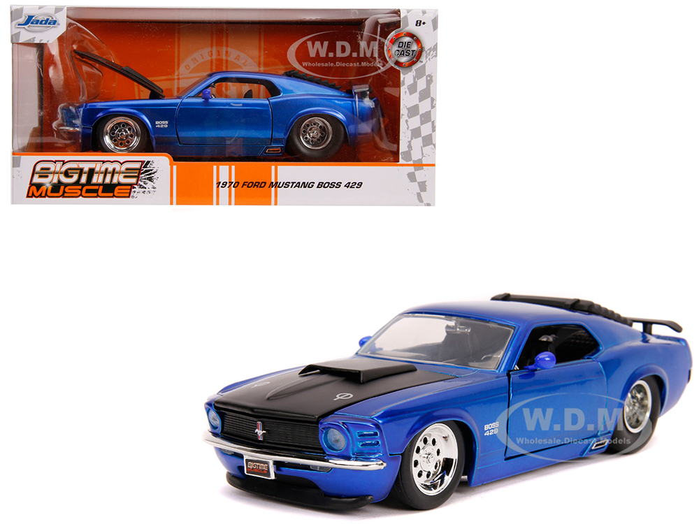 1970 Ford Mustang Boss 429 Candy Blue with Black Hood