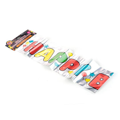 Happy Birthday Foil Banner for Home Party Supplies Decoration, 36
