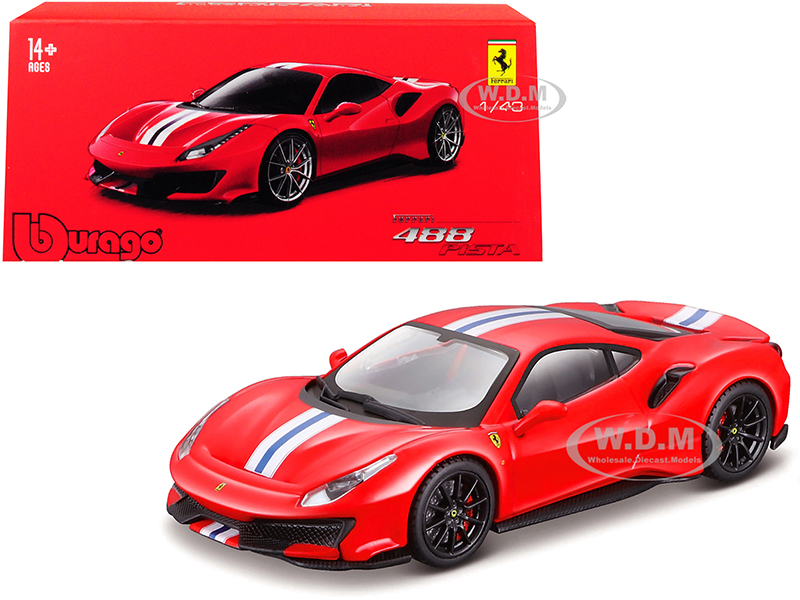 Ferrari 488 Pista Red with White and Blue Stripes and Black Wheels