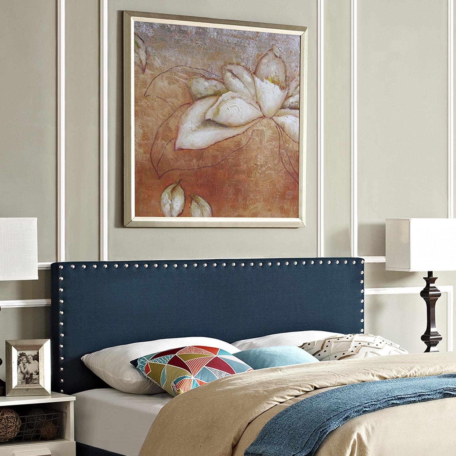 Phoebe Queen Upholstered Fabric Headboard in Azure