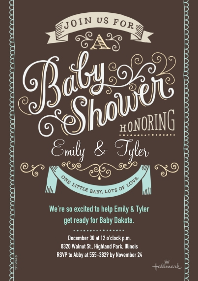 Baby Shower Invitations 5x7 Cards, Standard Cardstock 85lb, Card & Stationery -Curly Lettering - Aqua