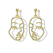 Hollow Face Design Drop Earrings 1pair