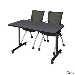 Kobe 42-inches x 24-inches Mobile Training Table With 2 Black Apprentice Chairs (Grey)