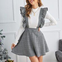 Kleid mit Plaid Muster, Rueschenbesatz und Traeger