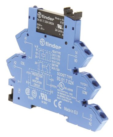 Finder 2 A SPNO Interface Relay Module, DC, DIN Rail, 24 V dc Maximum Load