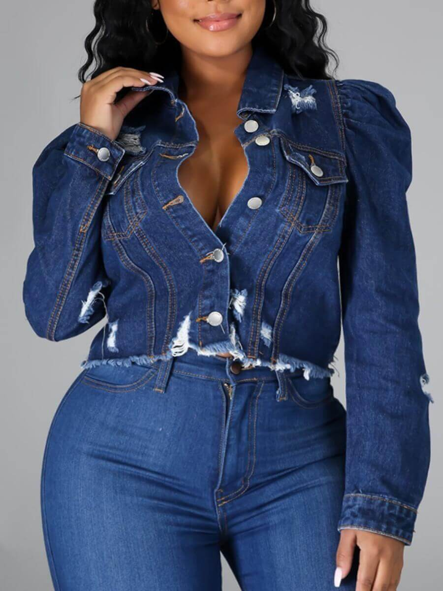 LW Lovely Street Turndown Collar Broken Holes Deep Blue Denim Jacket