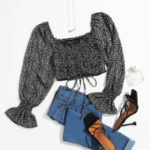 Allover Drawstring Crop Top