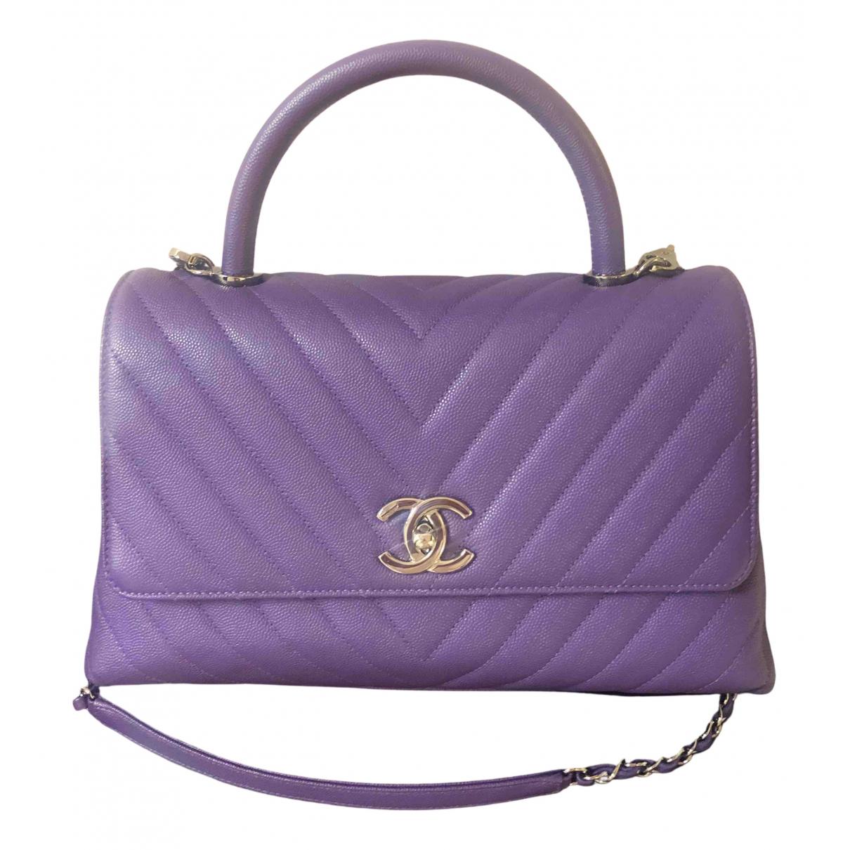 Chanel Coco Handle Handtasche in  Lila Leder