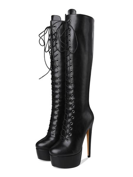 Milanoo de PU de puntera redonda Botas altas mujer negro  botas altas negras 16cm de tacon de stiletto Color liso Otoño Primavera con cinta