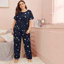 Pijamas de Talla Grande Galaxia Azul Marino Casual
