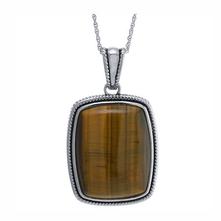 Womens Genuine Brown Tiger's Eye Sterling Silver Rectangular Pendant Necklace, One Size , No Color Family