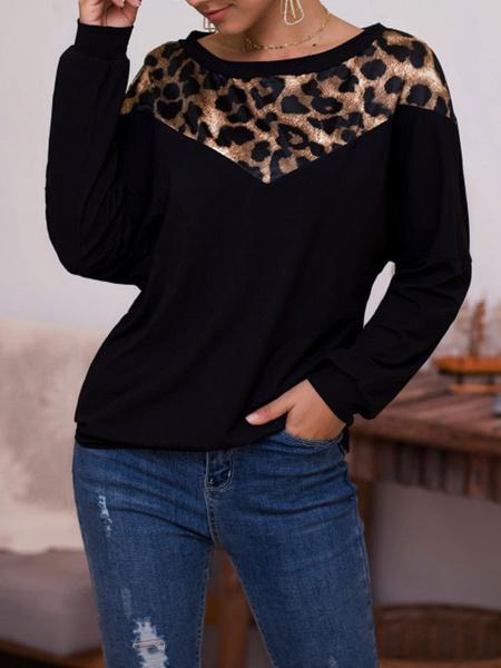 Milanoo Long Sleeves Tees Leopard Polyester Leopard Print Jewel Neck Women T Shirt