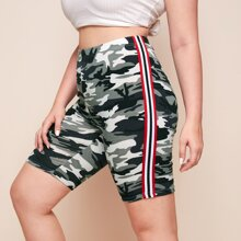 Plus Striped Tape Side Camo Biker Shorts