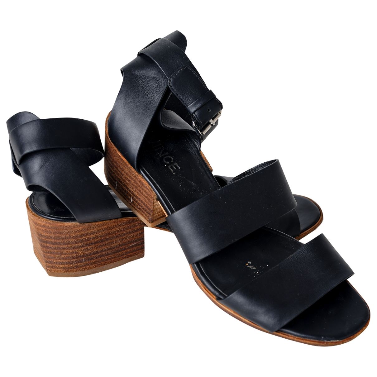 Vince - Sandales   pour femme en cuir - noir