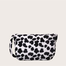 Bolsa de hombro de niñas mullida con estampado de vaca