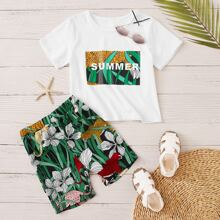 Toddler Boys Tropical And Leopard Print Tee & Shorts