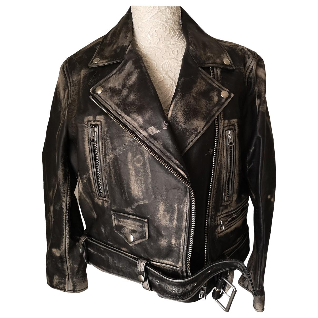Acne Studios - Blouson   pour femme en cuir - noir