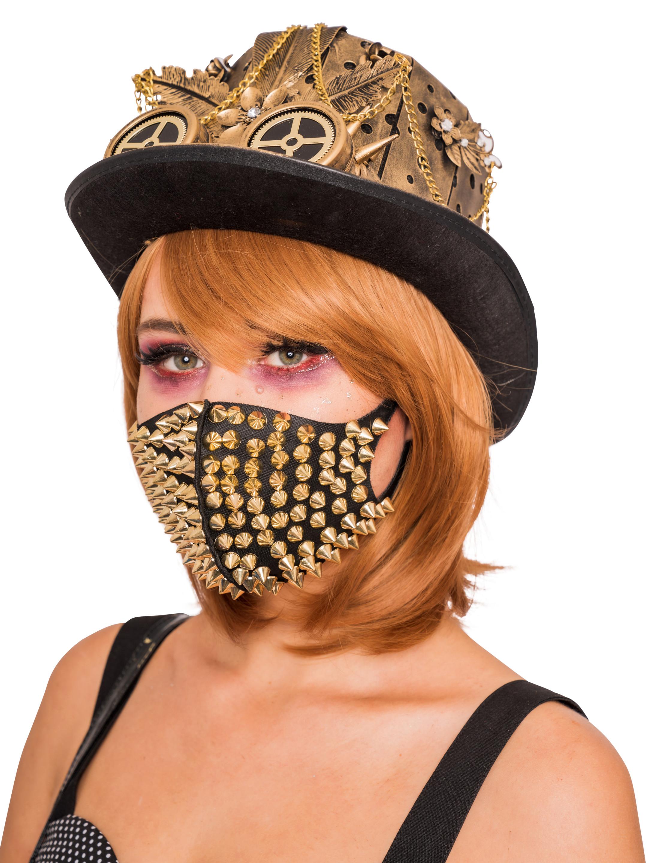 Kostuemzubehor Maske Steampunk mit Nieten gold