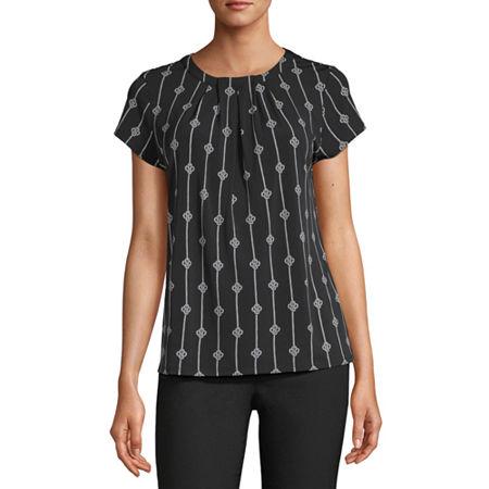 Liz Claiborne Womens Round Neck Short Sleeve Blouse, Medium , Black