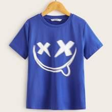 Jungen T-Shirt mit Karikatur Grafik