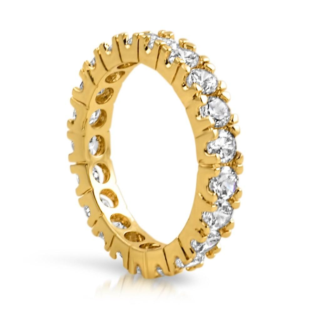 Gold Eternity Band 360 3MM CZ Bling Bling Ring