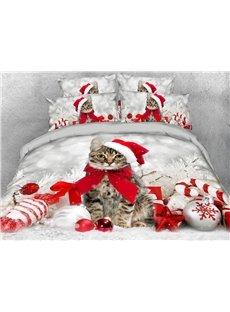 Christmas Theme Bedding Christmas Cat Lightweight Warm 3D Printed 5-Piece Comforter Sets