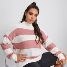 Plus Stand Collar Drop Shoulder Two Tone Sweater