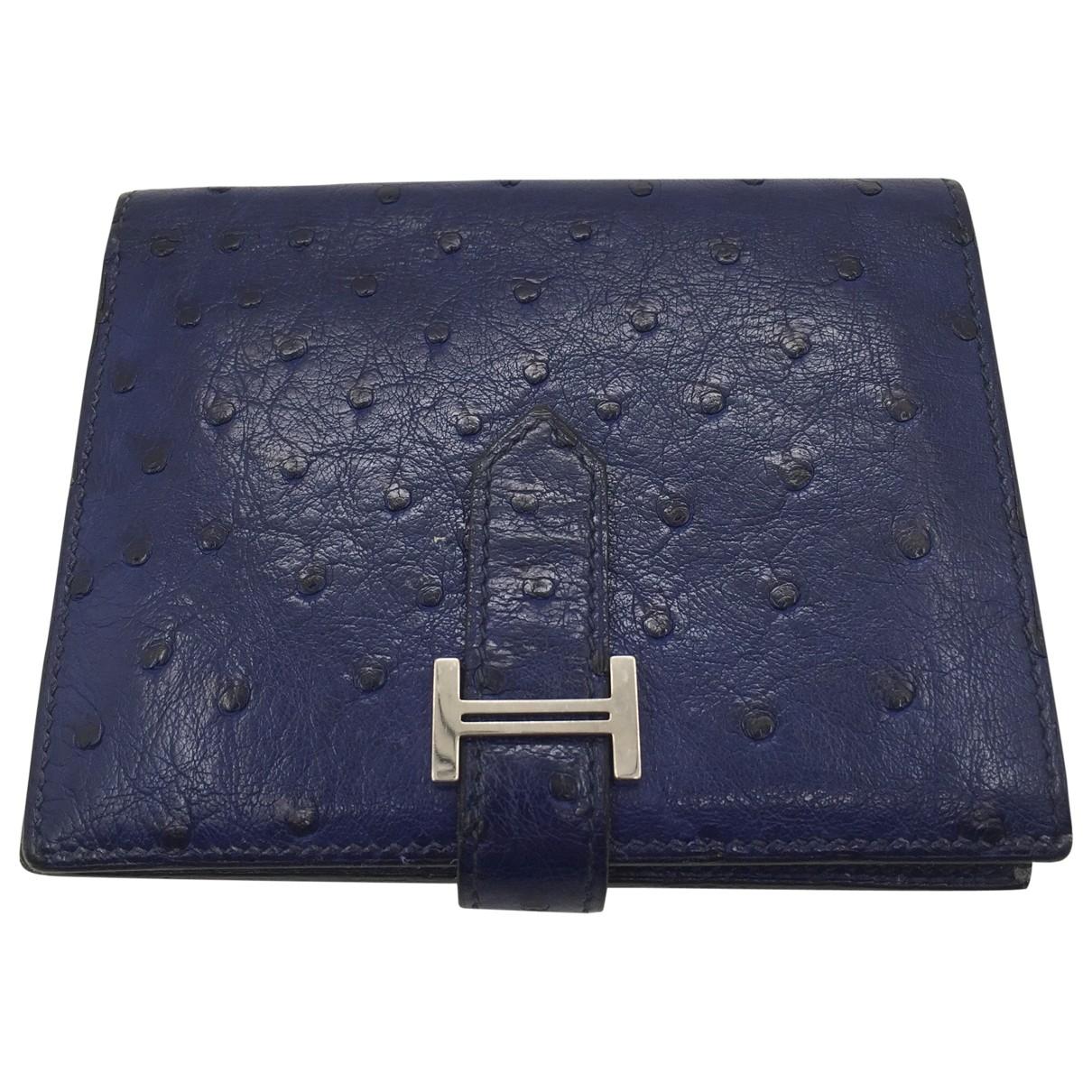 Hermes Bearn Portemonnaie in  Blau Vogelstrauss