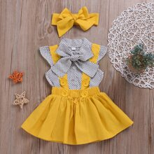Toddler Girls Tie Neck Polka Dot Blouse & Pinafore Skirt & Headband