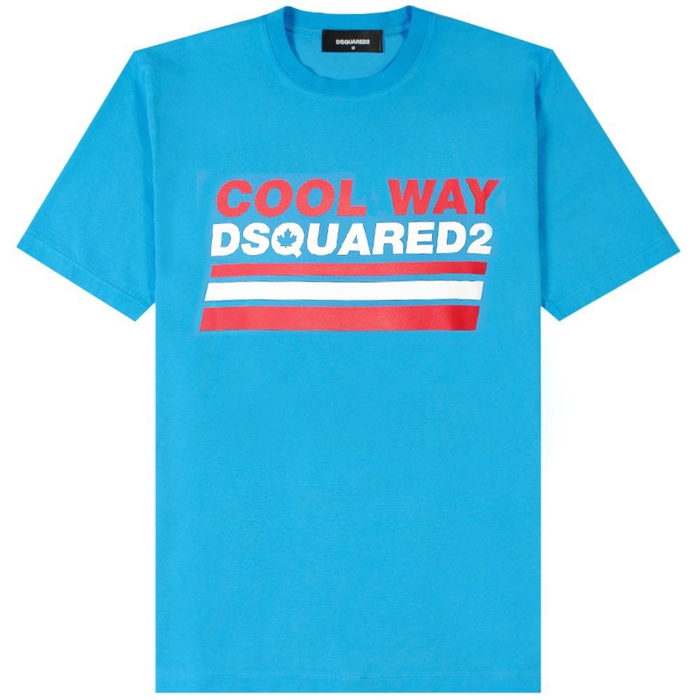 Dsquared2 Cool Way Graphic T-Shirt Colour: BLUE, Size: EXTRA LARGE