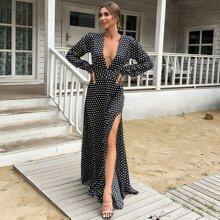 Kleid mit tiefem Kragen, Schlitz und Punkten Muster