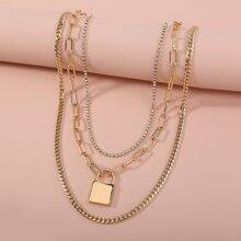 3 piezas collar con diseño de cerradura con diamante de imitacion