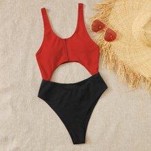 Color Block Cut-out Zip Front One Piece Swimsuit