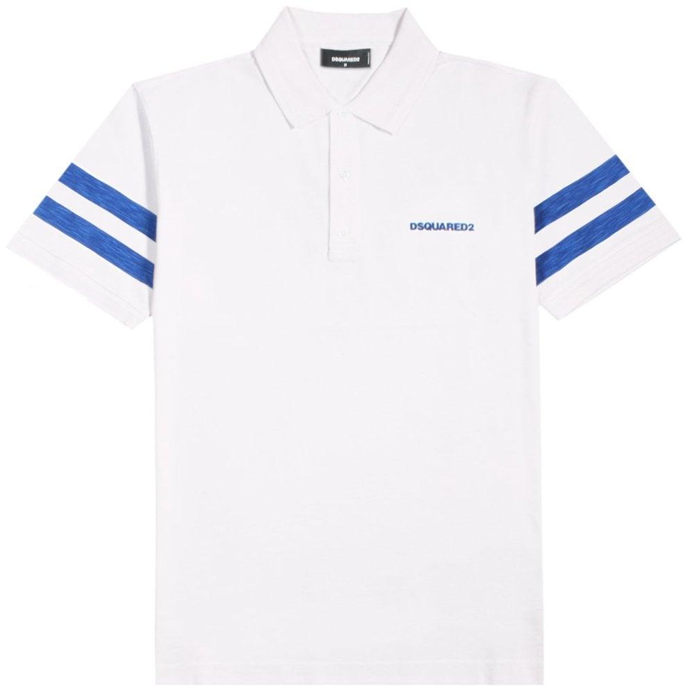 DSquared2 Reverse Maple Leaf Logo Polo Shirt Colour: WHITE, Size: EXTRA LARGE