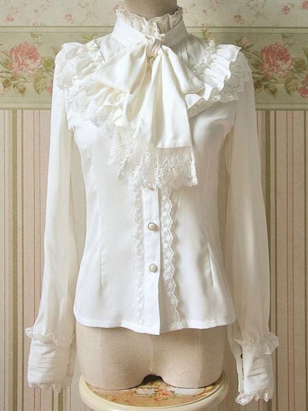 Milanoo White Chiffon Lolita Blouse Long Sleeves High Collar Big Bow Tie Lace Trim