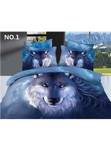 3D Oil Painting Wolf Cotton 4-Piece Blue Bedding Sets/Duvet Covers