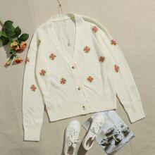Cardigan con boton floral con bordado