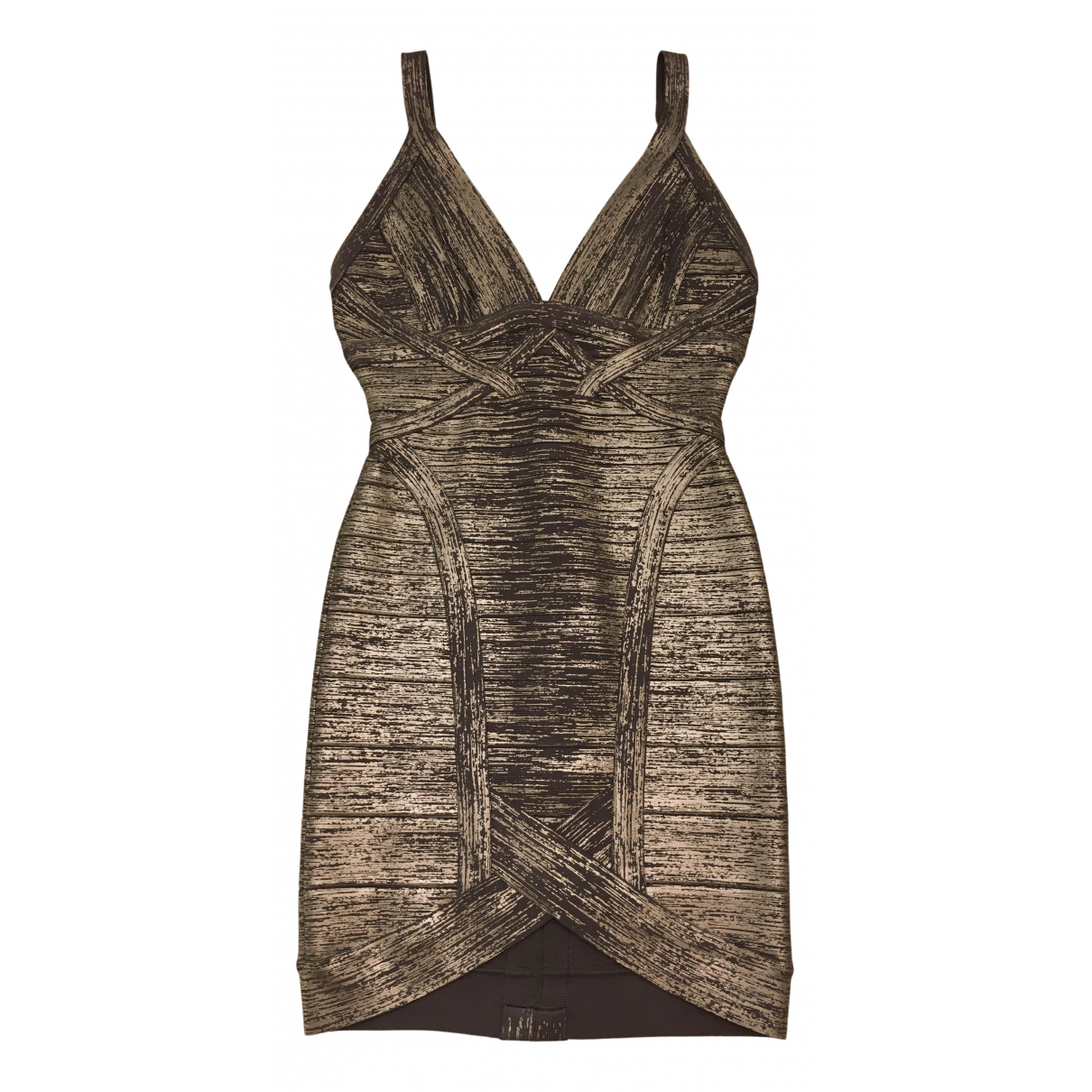 Herve Leger \N Kleid in  Metallic Viskose