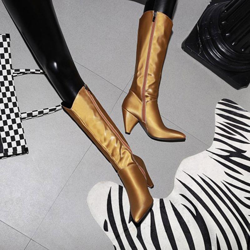 Ericdress Side Zipper Pointed Toe Plain Zipper Boots