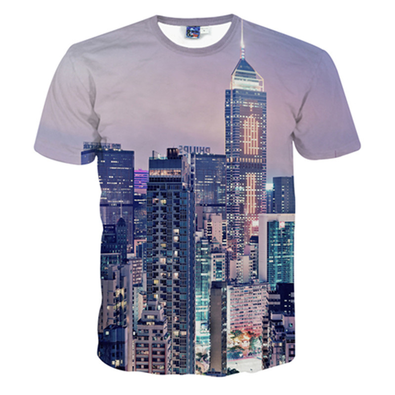 Resplendent Round Neck Night Scenery of City Pattern 3D Painted T-Shirt