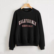 Rhinestone Letter Drop Shoulder Sweatshirt