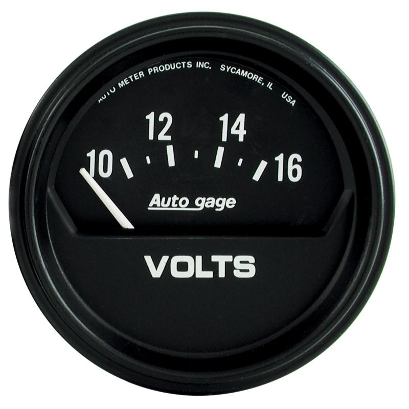 AutoMeter GAUGE; VOLTMETER; 2 5/8in.; 16V; ELEC; BLACK; AUTOGAGE