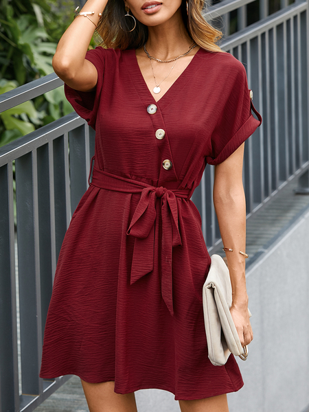 YOINS Belted Wrap Front Button V-neck Sleeveless Mini Dress