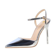Metallic Ultra High Heeled Ankle Strap Pumps