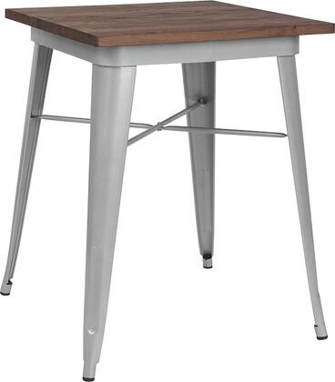 CH-31330-29M1-SIL-GG 24 Dining Table with Protective Rubber Floor Glides  Galvanized Steel Construction  Square Shaped Walnut Elm Wood Top and
